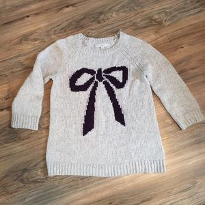 LOFT Oatmeal Bow Chunky Knit Graphic Sweater